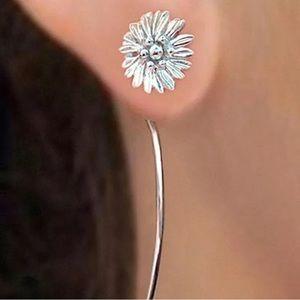 Flower Fancy Threader Hook Silver Earrings